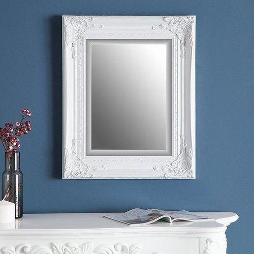 Romantischer Wandspiegel LOUVRE Weiß Antik in Barock-Design 55cm x 45cm | Vertikal oder horizontal aufhängbar! - 2