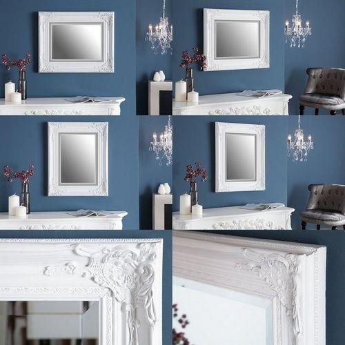 Romantischer Wandspiegel LOUVRE Weiß Antik in Barock-Design 55cm x 45cm | Vertikal oder horizontal aufhängbar! - 3