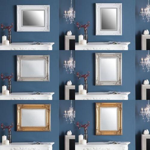 Romantischer Wandspiegel LOUVRE Weiß Antik in Barock-Design 55cm x 45cm | Vertikal oder horizontal aufhängbar! - 4