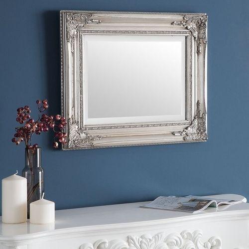 Romantischer Wandspiegel LOUVRE Silber Antik in Barock-Design 55cm x 45cm - 1