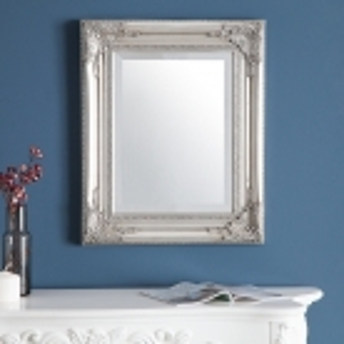 Romantischer Wandspiegel LOUVRE Silber Antik in Barock-Design 55cm x 45cm - 2