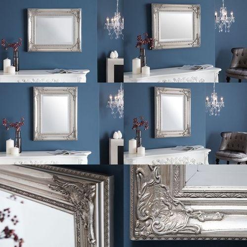 Romantischer Wandspiegel LOUVRE Silber Antik in Barock-Design 55cm x 45cm | Vertikal oder horizontal aufhängbar! - 3