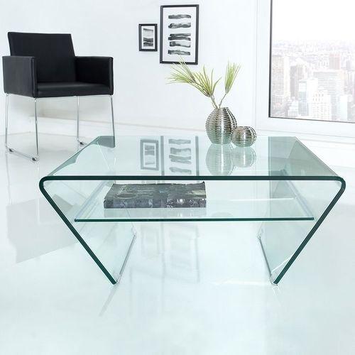 Glas-Couchtisch MAYFAIR Trapezform transparent aus einem Guss 80cm - 1