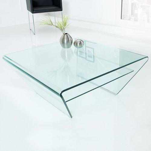 Glas-Couchtisch MAYFAIR Trapezform transparent aus einem Guss 80cm - 2