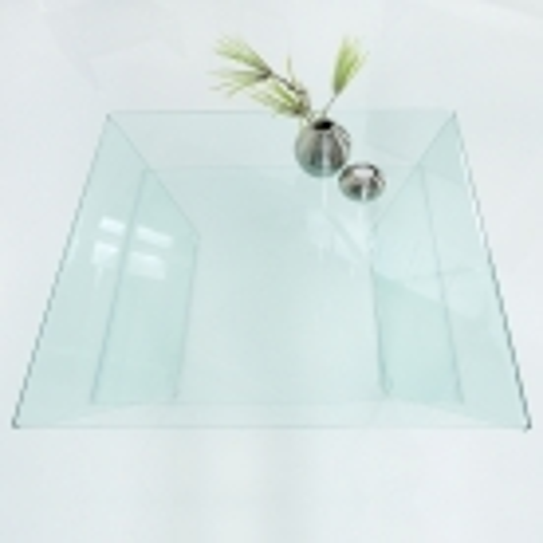 Glas-Couchtisch MAYFAIR Trapezform transparent aus einem Guss 80cm - 3