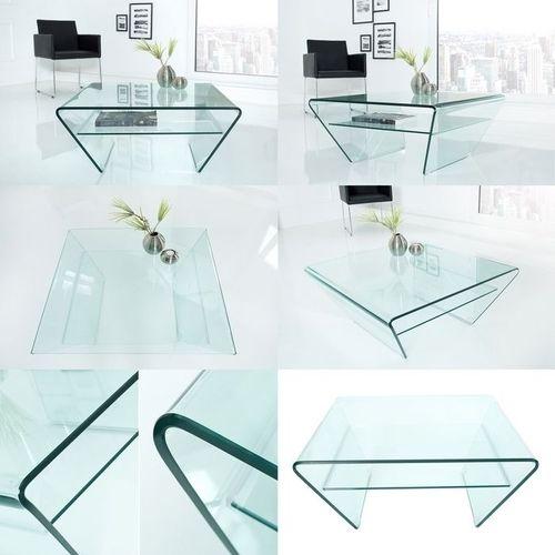 Glas-Couchtisch MAYFAIR Trapezform transparent aus einem Guss 80cm - 5
