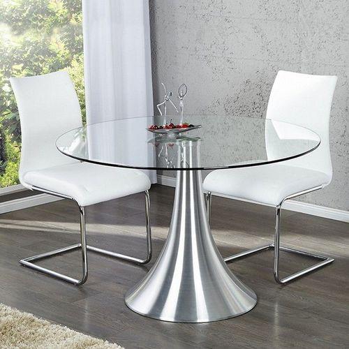 Esstisch RONDA mit Glasplatte und Tulpenfuß aus Aluminium 110cm Ø - 1