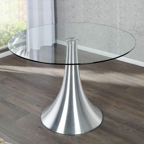 Esstisch RONDA mit Glasplatte und Tulpenfuß aus Aluminium 110cm Ø - 2