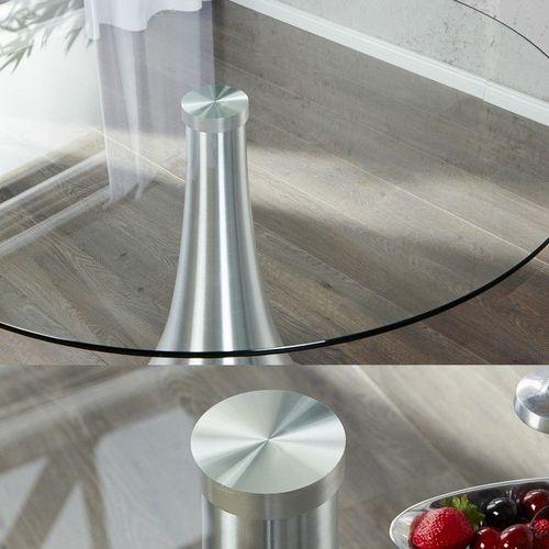 Esstisch RONDA mit Glasplatte und Tulpenfuß aus Aluminium 110cm Ø - 3