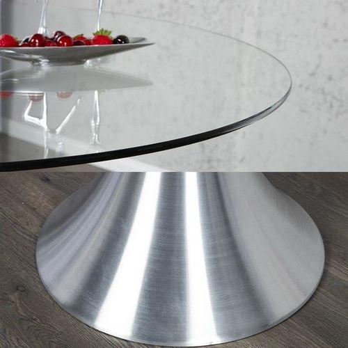 Esstisch RONDA mit Glasplatte und Tulpenfuß aus Aluminium 110cm Ø - 4