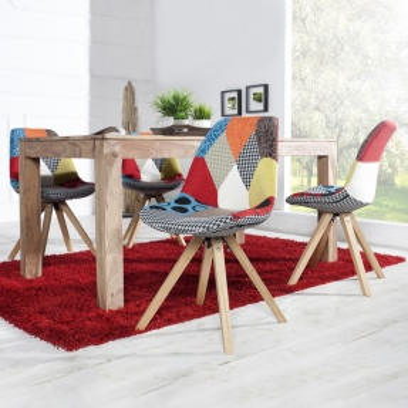 Retro Stuhl GÖTEBORG Patchwork Strukturstoff im skandinavischen Stil - 1