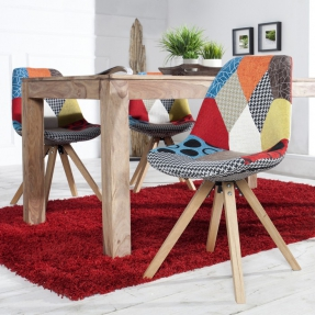Retro Stuhl GÖTEBORG Patchwork Strukturstoff im skandinavischen Stil - 2