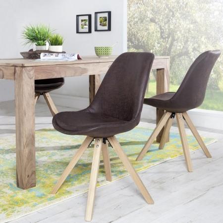 Retro Stuhl GÖTEBORG Braun-Eiche Kunstleder im skandinavischen Stil - 1