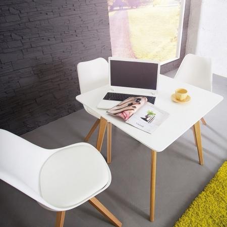 Retro Esstisch GÖTEBORG Weiß 80cm im skandinavischen Stil - 2