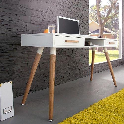 Retro Schreibtisch GÖTEBORG Weiß-Eiche mit 2 Schubladen 120cm im skandinavischen Stil - 1