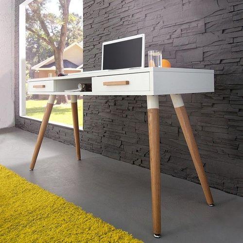 Retro Schreibtisch GÖTEBORG Weiß-Eiche mit 2 Schubladen 120cm im skandinavischen Stil - 2