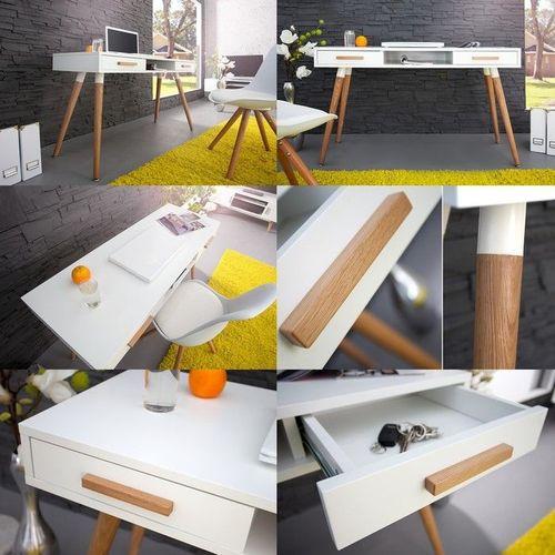 Retro Schreibtisch GÖTEBORG Weiß-Eiche mit 2 Schubladen 120cm im skandinavischen Stil - 3