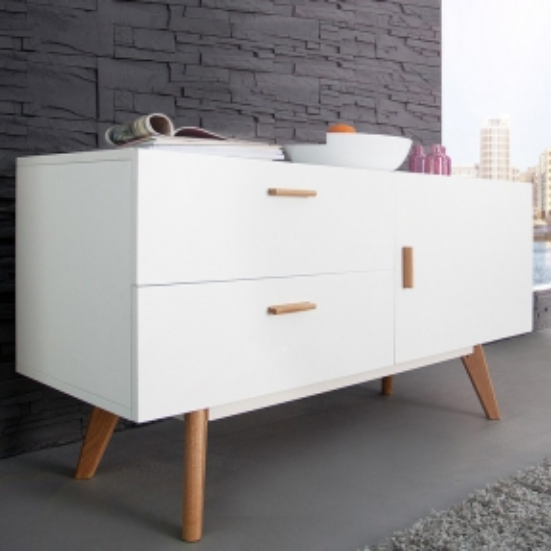 Retro Sideboard GÖTEBORG Weiß-Eiche 120cm im skandinavischen Stil - 1