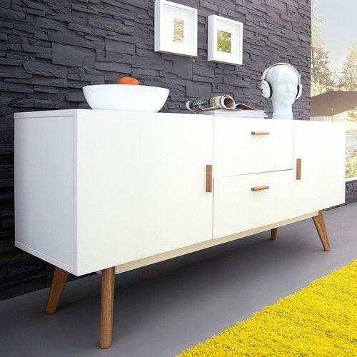 XL Retro Sideboard GÖTEBORG Weiß 160cm im skandinavischen Stil - 1