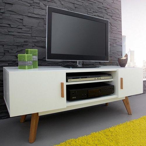 Retro TV-Tisch GÖTEBORG Weiß 120cm im skandinavischen Stil - 1
