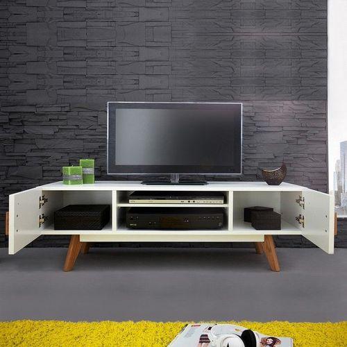 Retro TV-Tisch GÖTEBORG Weiß 120cm im skandinavischen Stil - 2