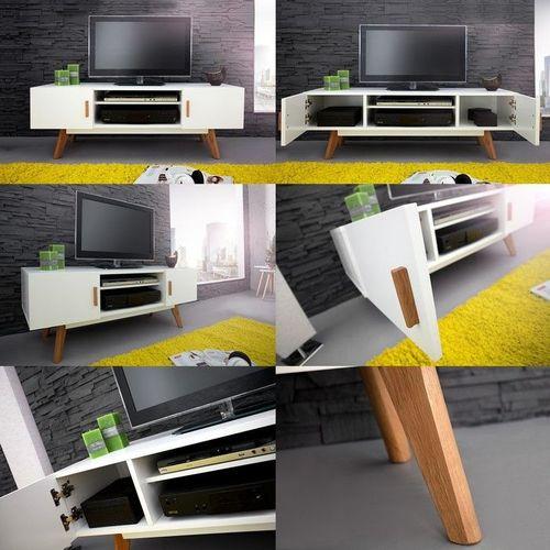 Retro TV-Tisch GÖTEBORG Weiß 120cm im skandinavischen Stil - 3