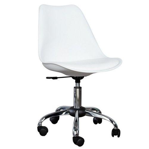 Retro Bürostuhl GÖTEBORG Weiß & Chromgestell im skandinavischen Stil - 1