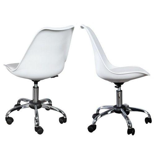 Retro Bürostuhl GÖTEBORG Weiß & Chromgestell im skandinavischen Stil - 2