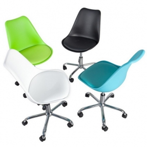 Retro Bürostuhl GÖTEBORG Weiß & Chromgestell im skandinavischen Stil - 3