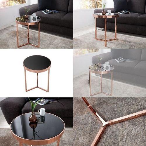 Beistelltisch DIANA Kupfer mit schwarzer Glasplatte 50cm Höhe - 3