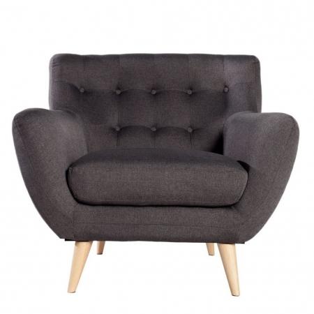 Retro Sessel GÖTEBORG Anthrazit-Eiche im skandinavischen Stil - 1