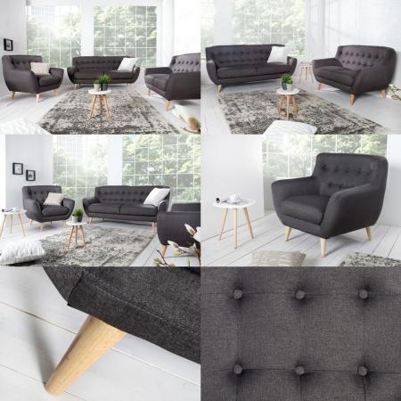 Retro Sessel GÖTEBORG Anthrazit-Eiche im skandinavischen Stil - 3