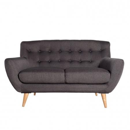 Retro 2er Sofa GÖTEBORG Anthrazit im skandinavischen Stil - 1