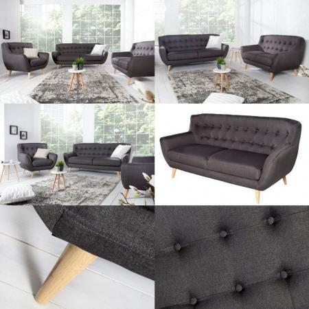 Retro 2er Sofa GÖTEBORG Anthrazit im skandinavischen Stil - 3