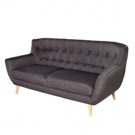 Retro 3er Sofa GÖTEBORG Anthrazit-Eiche im skandinavischen Stil - 3