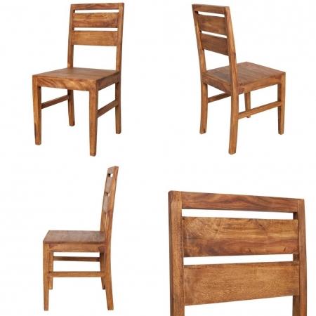 Stuhl SATNA Sheesham massiv Holz gewachst - Komplett montiert! - 2