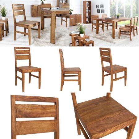 Stuhl SATNA Sheesham massiv Holz gewachst - Komplett montiert! - 3