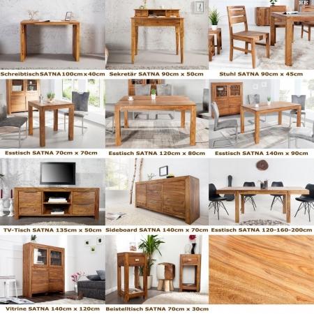 Stuhl SATNA Sheesham massiv Holz gewachst - Komplett montiert! - 4