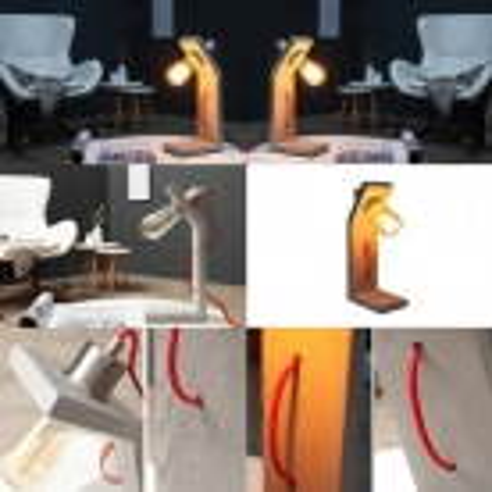 Tischlampe URBANO Grau in geknickter L-Form aus einem Block Feinbeton 30cm Höhe - 3