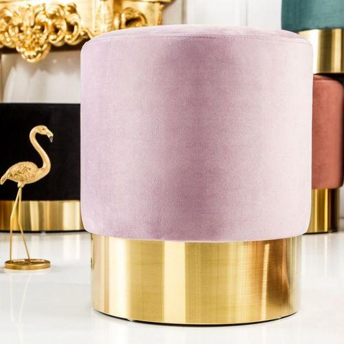 Sitzhocker POMPIDOU Pastell-Violett aus Samtstoff mit Gold Metallsockel in Barock-Design 35cm x 41cm - 1