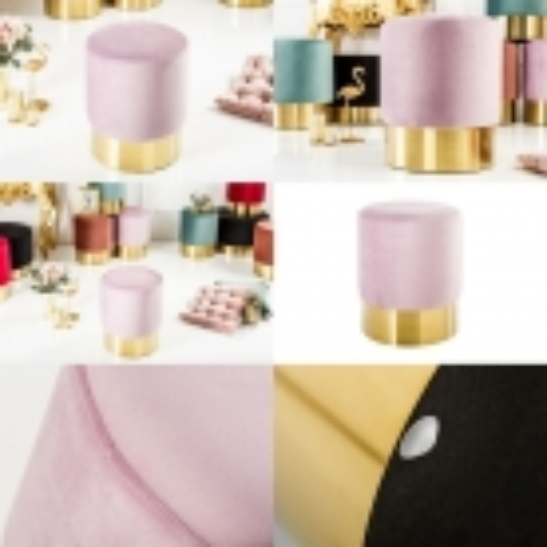 Sitzhocker POMPIDOU Pastell-Violett aus Samtstoff mit Gold Metallsockel in Barock-Design 35cm x 41cm - 3