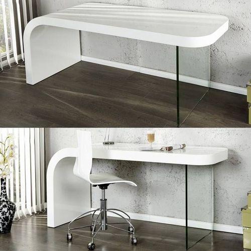 Schreibtisch BIRMINGHAM Weiß Hochglanz mit Glasstandfuß 140cm x 60cm - 2
