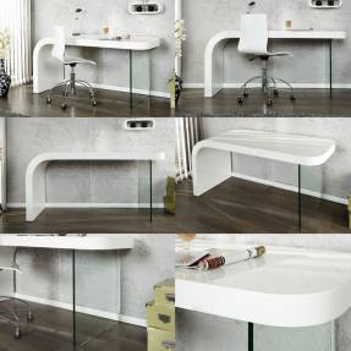 Schreibtisch BIRMINGHAM Weiß Hochglanz mit Glasstandfuß 140cm - 3