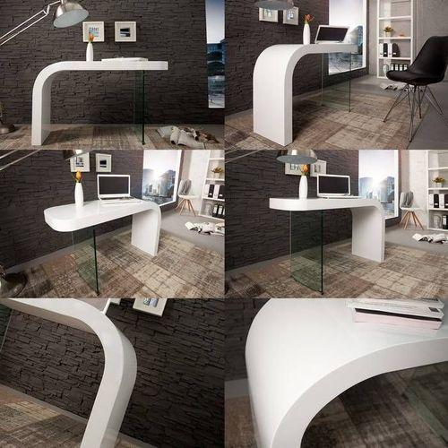 Schreibtisch BIRMINGHAM Weiß Hochglanz mit Glasstandfuß 140cm - 4