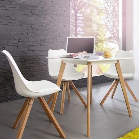Retro Stuhl GÖTEBORG Weiß im skandinavischen Stil - 1