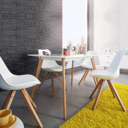 Retro Stuhl GÖTEBORG Weiß im skandinavischen Stil - 2