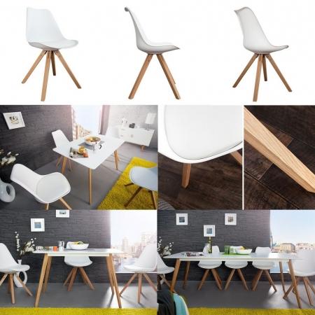 Retro Stuhl GÖTEBORG Weiß im skandinavischen Stil - 3