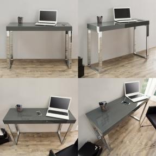 Schreibtisch PRINCETON Grau Hochglanz 120cm x 40cm - 3