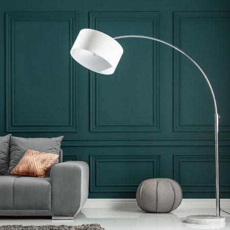 XL Bogenlampe SONOR Weiß mit Marmorfuß Weiß 170-200cm Höhe - 1