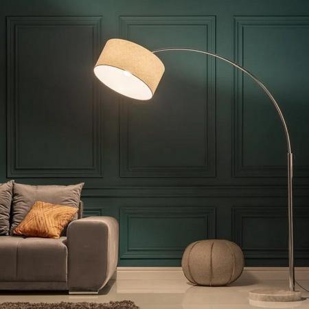 XL Bogenlampe SONOR Weiß mit Marmorfuß Weiß 170-200cm Höhe - 2